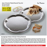2pcs Chrome Plated Round Tray Set Saiz: 35cm & 30cm